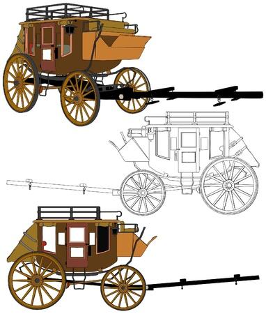 carreta madera: La diligencia sin caballos Vectores