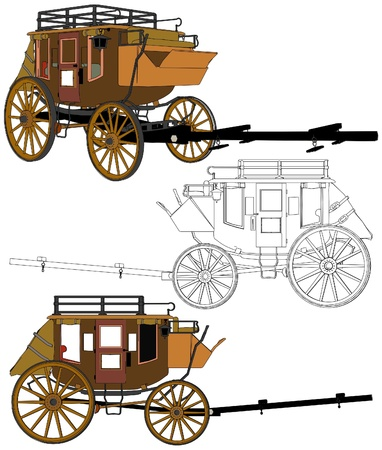 horse carriage: Stagecoach Without Horses Illustration