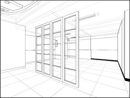 Abstract Interior Construction Stock Vector - 12365997