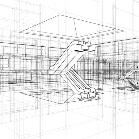 Abstract Construction And Escalator  Vector