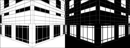 Corner Of Business Building Negative Vector