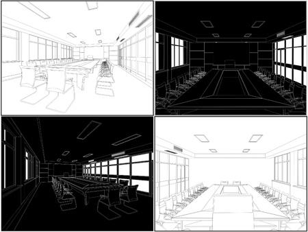 furnishing: Vergadering Vergaderzaal Stock Illustratie