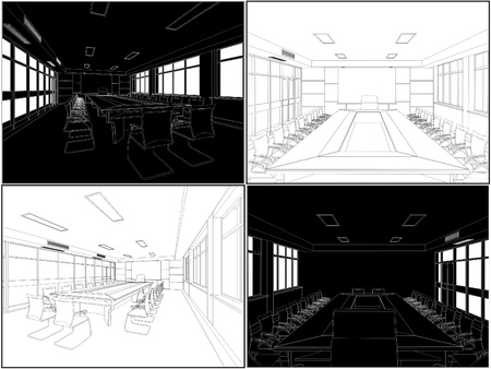modern office interior: Meeting Conference Room Illustration