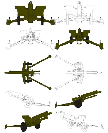 armaments: Cannon Howitzer Field Arttillery  Illustration