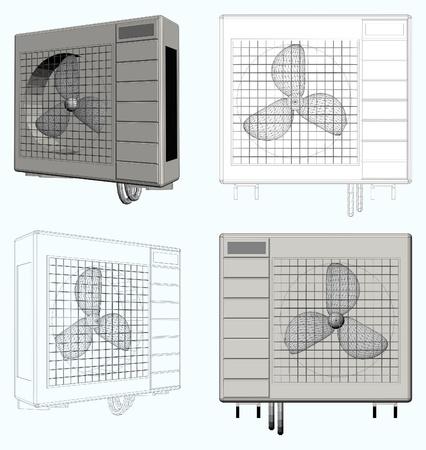 compresor: Unidad exterior de aire acondicionado Vectores