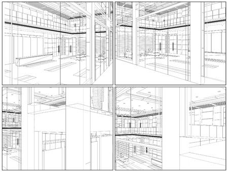 architectonic: Modern Hall Illustration