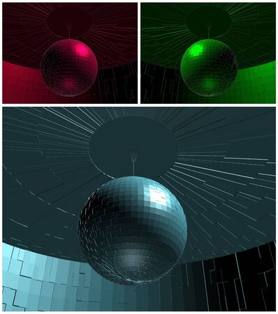 RGB Disco Ball In Room Vector