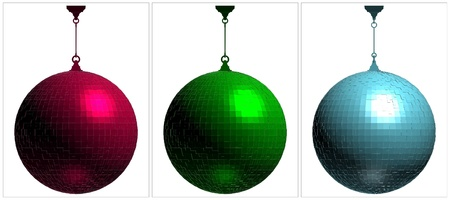 RGB Disco Ball On White Background Vector