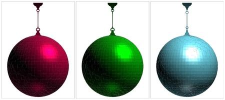 night club interior: RGB Disco Ball On White Background Illustration