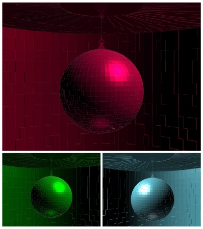 vj: RGB Color Disco Ball In Room