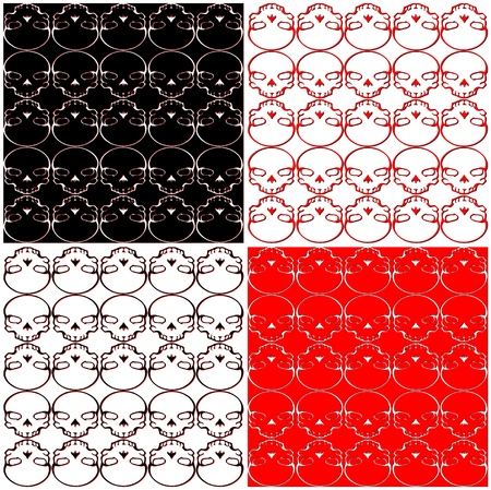 Skull Black Red White Pattern Background Vector Vector