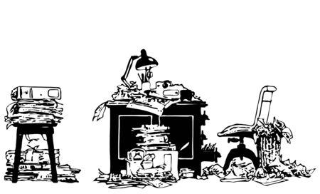 habitacion desordenada: Oficina de trabajo Place In Mess
