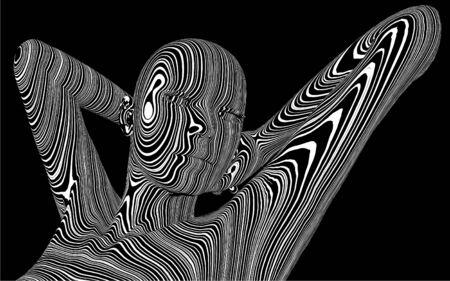 Woman In Zebra Skin Pattern Stock Vector - 16634714