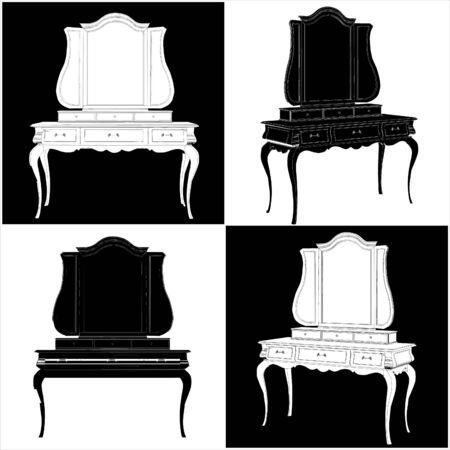 commode: Antique Mirror Commode Illustration