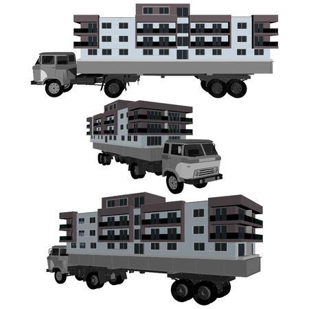 relocating: Moving A House Buildings With A Truck Illustration