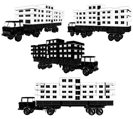 Moving A House Buildings With A Truck Stock Vector - 17599415