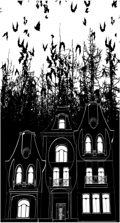 Haunted House Bats Halloween Background Vector