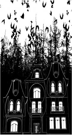 castle door: Haunted House Bats Halloween Background Illustration