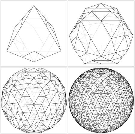 tetraedro: Da Ottaedro alla sfera di pallone Vettoriali