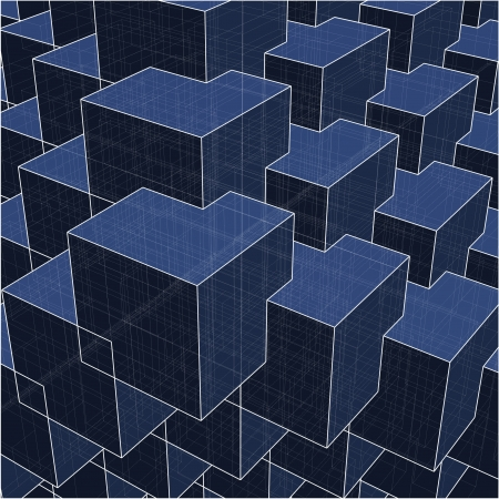 Urban City Boxes Cube With Hidden Lines  Vector