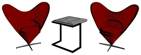 Modern Table and Armchairs In Shape Of Heart Vector
