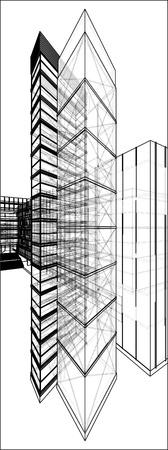 corporate building: Urban Skyscraper With Hidden Line