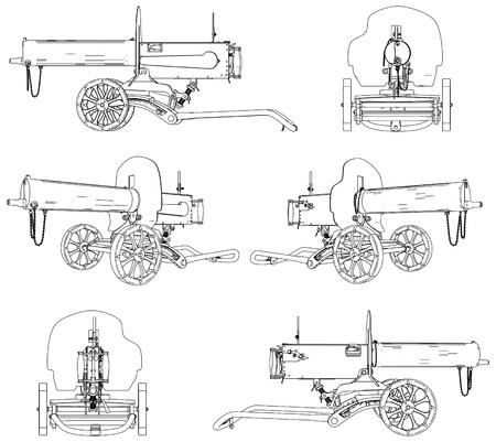 ammunition: Machine Gun Maxim Illustration