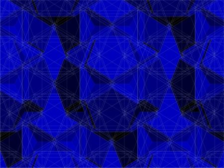 Spider Net Line Blue Geometric Kaleidoscope Vector Vector