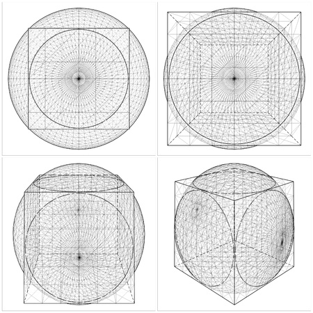 esoteric: Geometric Intersection Of Cube And Sphere Illustration