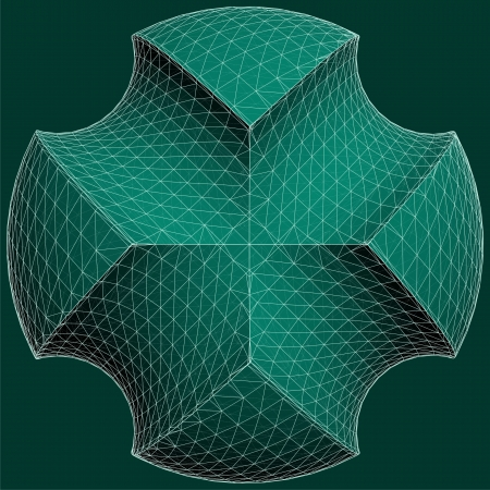 subtraction: Geometric Subtraction Of Green Sphere And Two Torus Vector