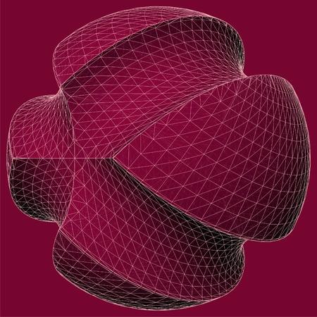 red sphere: Sottrazione geometrica della sfera rossa e due Torus Vector