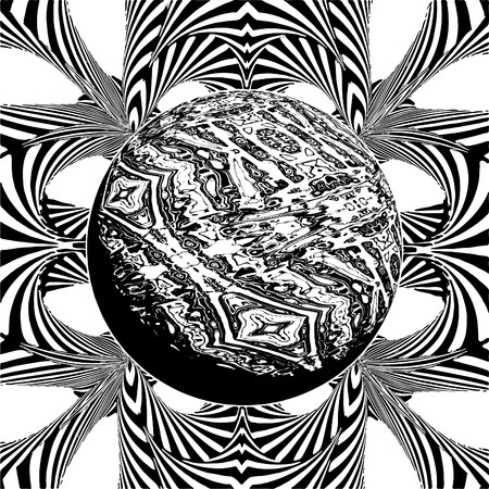 gamma: Black And White Gamma Ray Burst Planet Vector  Illustration