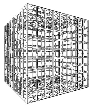 Cage Box Cube Vector  Stock Vector - 23267091
