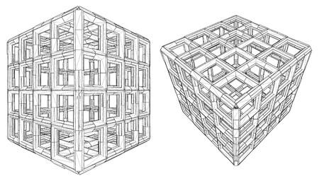 Cage Box Cube Vector  Stock Vector - 23267092