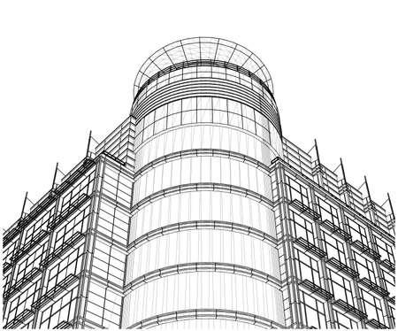 quadrant: Building Glass Corner Entrance Circle and Quadrant Vector