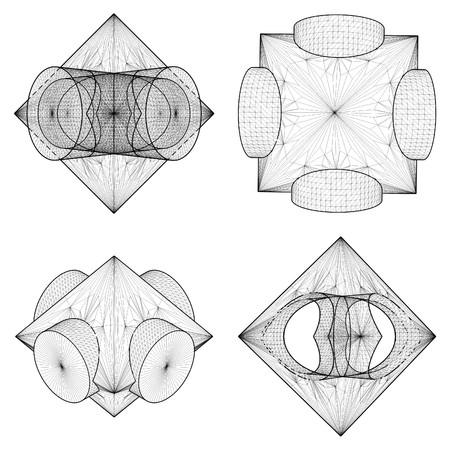 tetraedro: Sottrazione geometrica di ottaedro e il Due Vector Cilindro