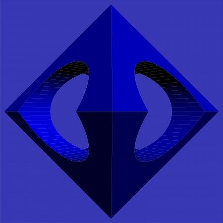subtraction: Geometric Subtraction Of Blue Octahedron And Two Cylinder Vector Illustration
