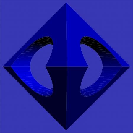 tetraedro: Sottrazione Geometrico Di Blu ottaedro e il Due Vector Cilindro