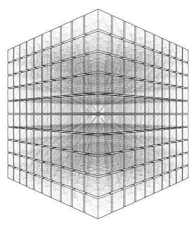 prisma: Cortar Cubo Con Hidden Lines Vector