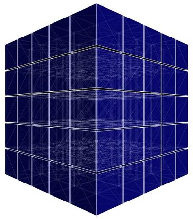 solid figure: Tagliare cubo con linee nascoste Vector