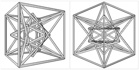 creation: Geometric Creation Of Cube And Pyramid On Its Six Sides Vector Illustration