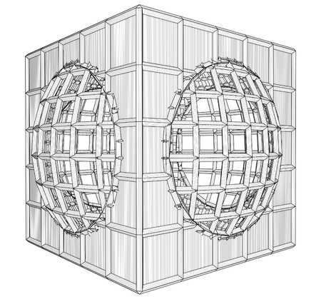 Cage Box Cube Vector Stock Vector - 25127592