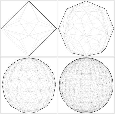tetraedro: Da Ottaedro al vettore della sfera della sfera Lines Vettoriali
