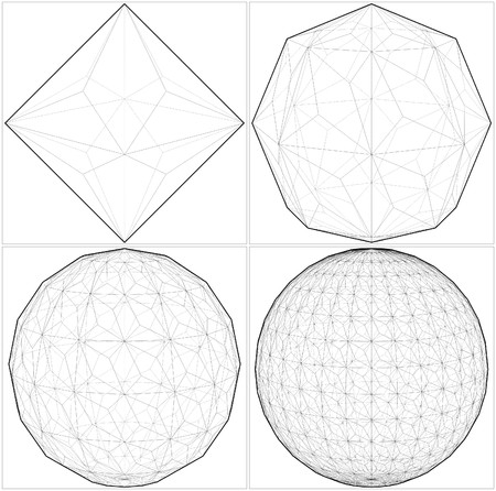 From Octahedron To The Ball Sphere Lines Vector
