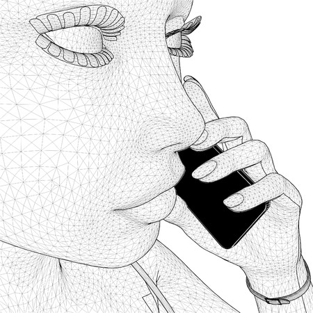 ear phones: Young Network Woman Holding Mobile Telephone Vector