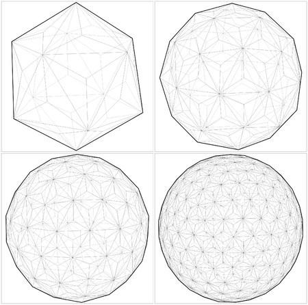 tetraedro: Da Icosahedron alla palla Sphere Lines Vettoriali
