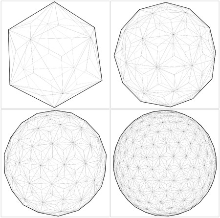 icosahedron: From Icosahedron To The Ball Sphere Lines  Illustration