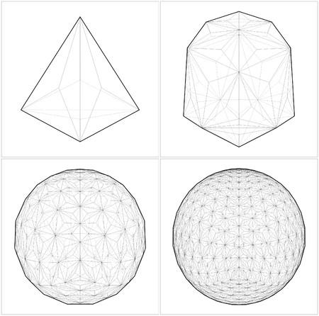 tetraedro: Da Tetraedro alla palla Sphere Lines Vettoriali