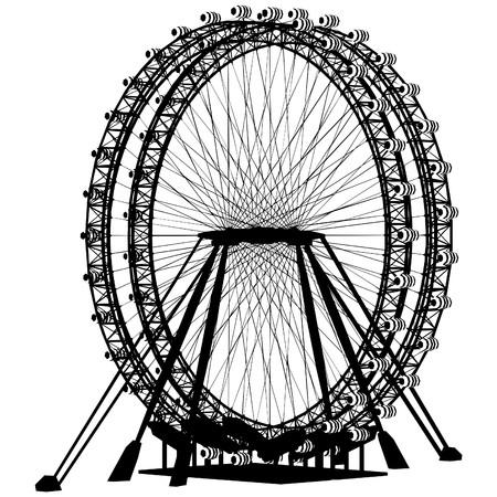 Double Carousel Silhouette Vector Vector