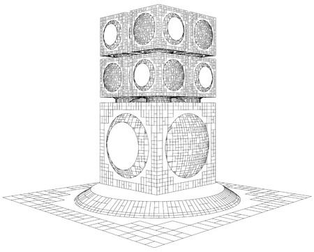 viewpoint: Futuristic Megalopolis City Skyscraper Structure Vector